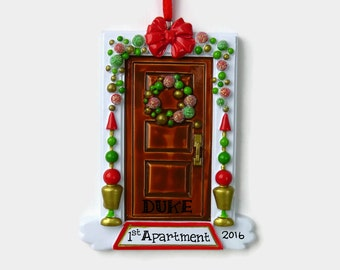 Funky or Festive Brown Door - New Home - First Apartment Personalized Ornament - Hand Personalized Christmas Ornament