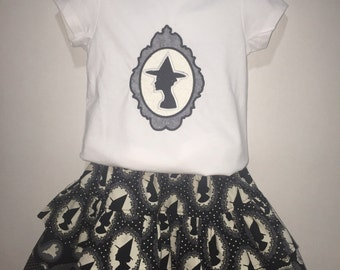 Baby Infant Toddler Girls Halloween Witch Cameo Silhouette Glow in the Dark Embroidered Boutique Twirly Skirt Set 2 3 4 5 6 7 8
