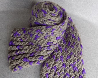 Chunky Knit Scarf ~Gray and Purple~