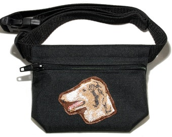Embroidered dog treat waist bag. Breed - Borzoi (Russian Wolfhound). For dog shows and training. Great gift for breed lovers.