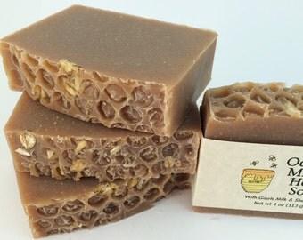 Oatmeal, Milk, and Honey Handmade Natural Soap, Goats Milk Soap, Shea Butter Soap