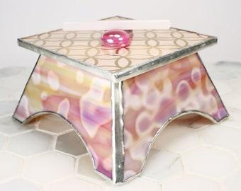 Pink Glass Jewelry Box, Earring Organizer, Jewelry Storage, Jewelry Holder, Jewelry Container, Jewelry Organization, Modern Jewelry Box
