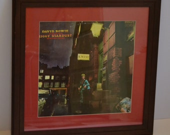David Bowie album Ziggy Stardust in teak frame, music art with vinyl record, wall art, nightclub art, rec room art