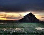 Barn photography, ACEO, sunrise, water reflection, farm, ranch, rural, dramatic