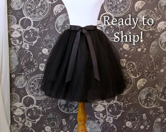 READY TO SHIP! Black Tulle Skirt - Adult Knee Length Tutu with Ribbon Waist and Ties - 38 inch waist