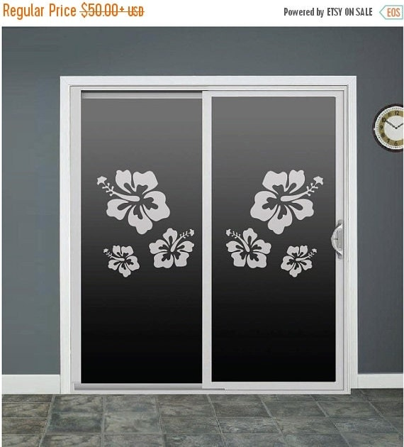 fb33ee472 ... Sliding Door Window Decals: Hibiscus Flower Glass Door Decals Sliding  Door By RoomsByAngie
