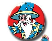 Wizard Badge. Magic Badge. Wizard Pin. Magician Pin. Pin Badges. Badges. Button Badges. Kids Gift. Childrens Gift. Pins. Buttons. Pinback.