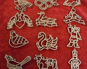 Set of 12 Days of Christmas Sliver - Handmade-   ornaments