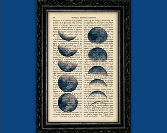 Moon Phases Art Print Wicca Poster Magick Moon Dorm Room Print Gift Print Wall Decor Poster Dictionary Print Art Print