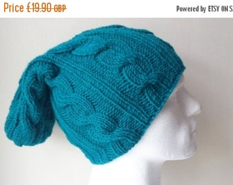 SUMMER SALE 50%OFF Teal Green Hand Knitted Hat, Slouchy beanie hat, slouchy teal cableknit hat, hand knit women men hat, chunky slouchy knit