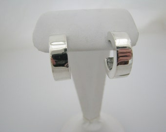 Nice Thick Sterling Silver Hoop Pierced Earrings with Posts