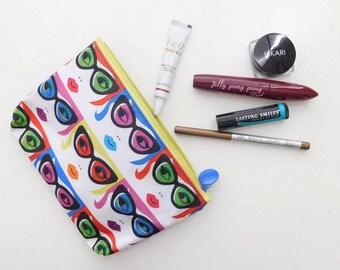 "Alter Ego - Makeup Lover - Mondrian colorful - Makeup Clutch - Travel Bag  7"" x 4.5"""