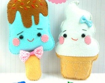 PDF Pattern: Kawaii Ice Cream Plushies. Felt Pattern. Plushies Pattern. Softies Pattern. Food Toy Pattern - Instant Download