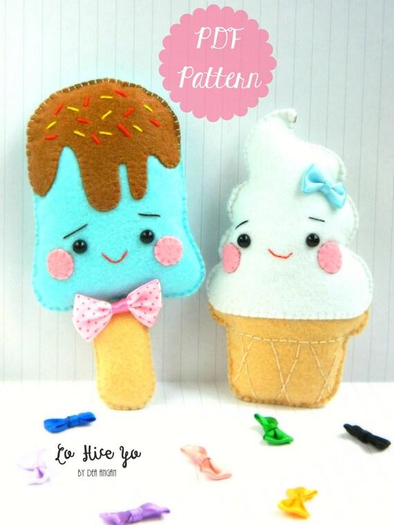 PDF Pattern: Kawaii Ice Cream Plushies. Felt Pattern. Plushies