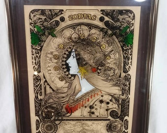 Vintage zodiac art neuvoue print on glass retro