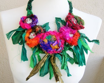 Sari silk ribbon statement necklace-different seasons-spring, multiolour, women gift, girl gift