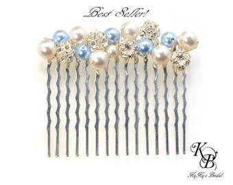 Something Blue Hair Comb, Bridal Hair Comb, Wedding Hair Accessories, Bridal Hair Accessories, Pearl Hair Comb, Blue Hair Comb, Bridal Hair