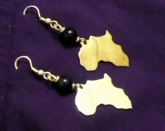 African Map Bronze Handmade Earrings