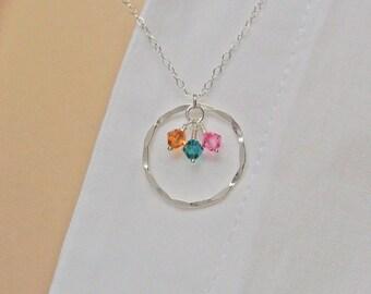 Eternity Necklace, 925 Sterling Silver, Swarovski Birthstone Necklace, Family Necklace, Eternity Circle Necklace, Karma Necklace
