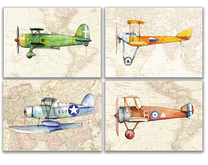 Plane decor Airplane on a Map print Set 4 prints Aircraft Watercolor Boys art Airplane painting Aviation art Retro avia Boy Nursery wall art