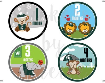 Month by Month Baby Stickers - Michigan State (MSU) Theme