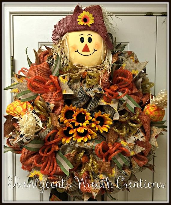 Fall Autumn Scarecrow Deco Mesh and Burlap Wreath