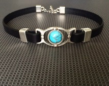 Antiqued Silver Turquoise and Leather Day Collar / Choker