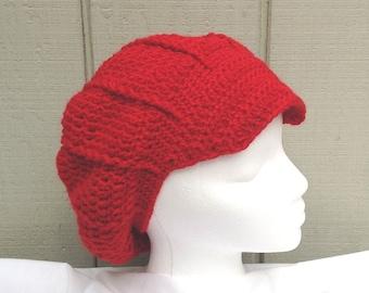 Newsboy hat - Womens wool blend beanie - Crochet slouchy hat - Red newsboy cap - Teens accessories