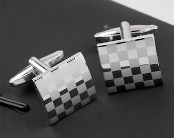 Men's Cuff Links - Classic Square Checker