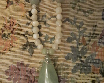 Green Agate Pendant, White Pearls, Agate Beads, Calcite Beads