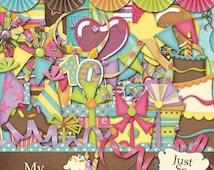 On Sale 50% Off My Birthday Girl Digital Scrapbooking Kit