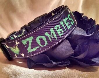 "I love Zombies 1"" Width Adjustable Dog Collar"