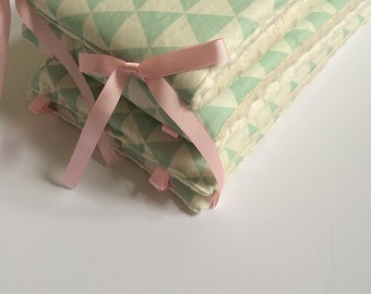 Crib Bumpers - Mint Triangles with Ivory Minky