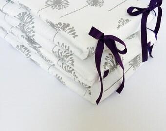 Crib Bumper ~ White with Grey Dandelions