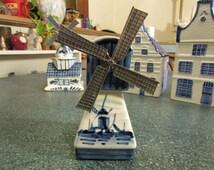 Vintage Hand Painted Porcelain Delft Blue Windmill Dutch Holland Figurine