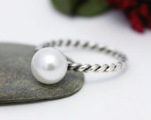 Little Dainty Fresh Water Pearl Ring, Statement Ring, Simple Ring, Twist Ring, Silver Fresh Water Pearl Ring, Stacking Ring, Pearl Ring