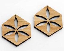 2 Hexagon Flower Beads : Bamboo