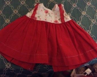 Vintage Red Doll Dress Floral Top