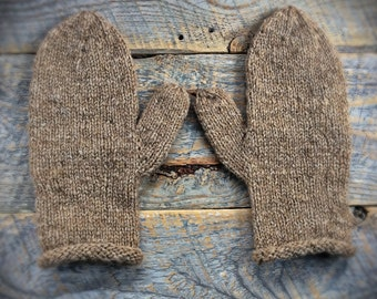 Womens knit mittens for natural wool, undyed, natural wool mittens, hand knit, brown, knitted hand spun wool