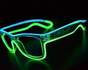 Rayban Stylized Dual Color Illuminated Rave Glasses, Led glasses made for standing out in the crowd, Seriously hand made In Ohio, USA