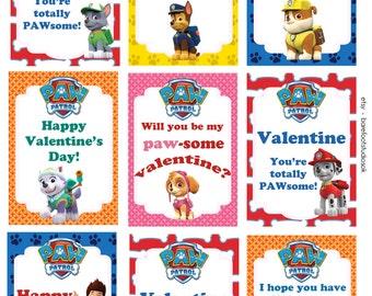Paw Patrol Printable Valentines 8.5x11 Digital Instant Download