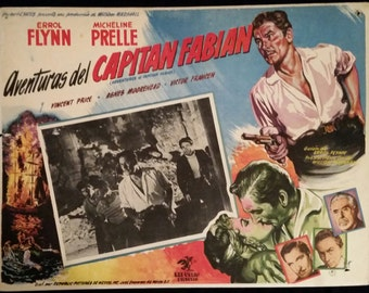 Original 1951 Adventures Of Captain Fabian Mexican Lobby Card Movie Poster, Errol Flynn, Micheline Prelle