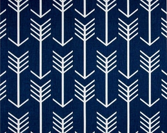 Navy Blue Arrow Indoor Outdoor Fabric by the Yard Southwest Cabin Cowboy Fabric Designer Drapery Curtain or Upholstery Navy Arrow B437