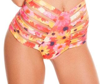 Daisy Strappy High-Waist Shorts