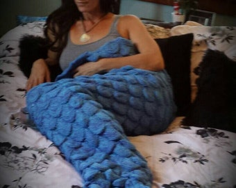 Mermaid blanket, adult mermaid blanket, mermaid tail blanket, fish tail blanket, mermaid tail throw, mermaid bedding, mermaid room decor