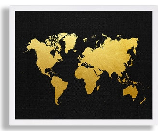 Black and gold art etsy world map print faux gold wall art black and gold art print gold map family room gumiabroncs Choice Image