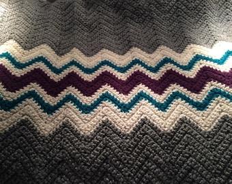 Crocheted Afghan - Gray, Teal, & Purple