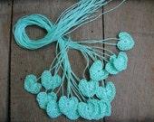 Crochet tiny mint hearts, Small wedding favors, 15 mini hearts, wedding decorations, embellishments, applique, Birthday, scrapbooking, card