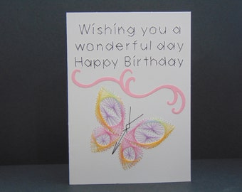 Butterfly in Pink Birthday Card
