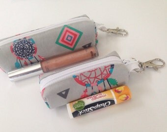 pouch SALE Chapstick Holder - Lip Balm Holder - Lipstick Holder - Chapstick Cozy - Lip Balm Cozy - Lipstick Cozy - Custom Chapstick Keyc